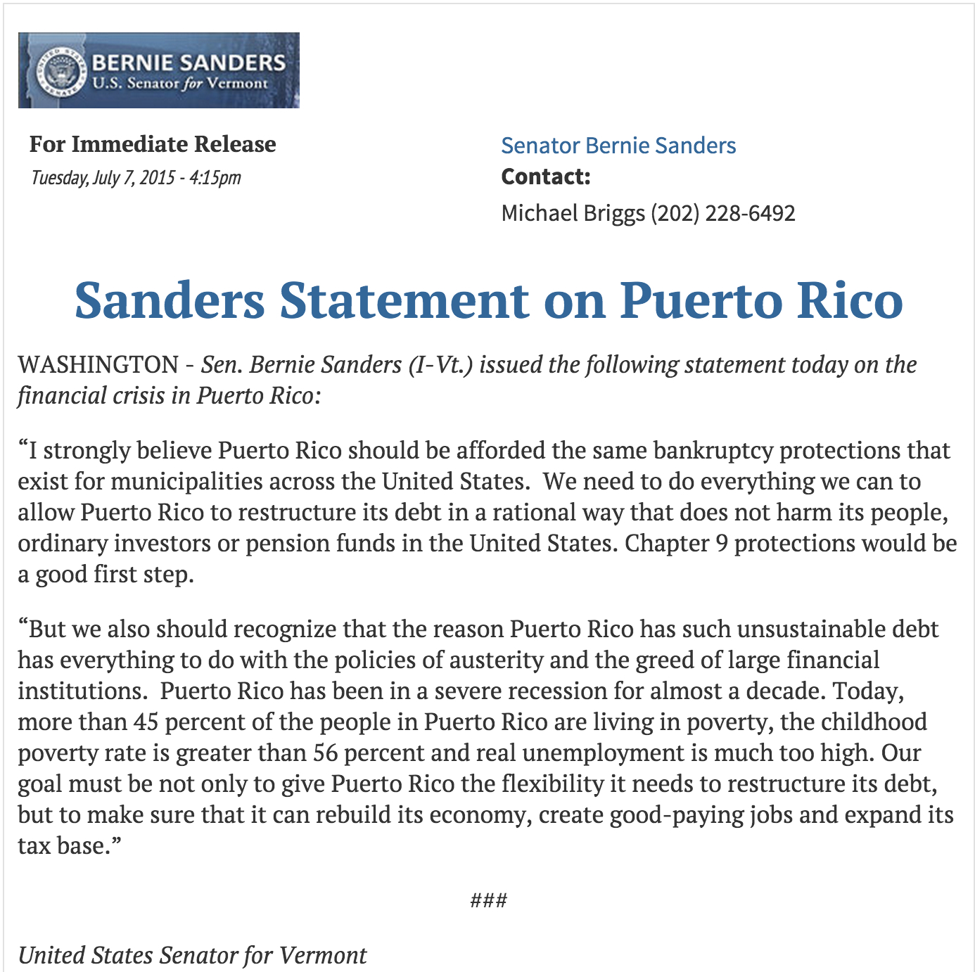puerto rico and the american dream bernie sanders on pr